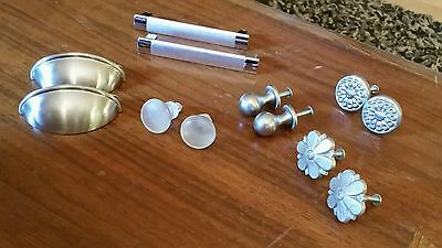12 Assorted Vintage Silver Tone Cabinet Drawer Knobs Pulls Frosted Flowers Cups
