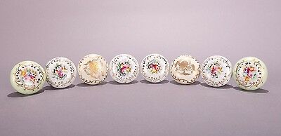 Antique Grouping Of Hand Enameled Door Knobs (8)
