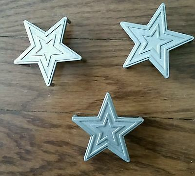 Lot of 3 Vintage Silver Tone STAR Metal Drawer Pulls Handles Cabinet Chest