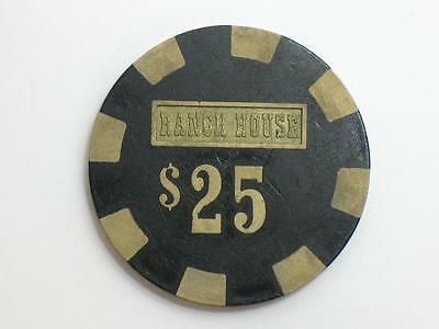 Ranch House Wells Nevada 1980s - $25 Casino Gaming Chip - Brass Core