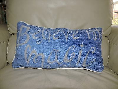Disney Parks Blue BELIEVE IN MAGIC Tinker Bell Pillow Accent Throw Lumbar NEW