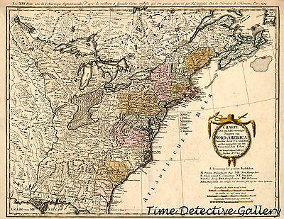 "Map of the Eastern United States - 1784 - 16"" x 20"" Antique Map Print"