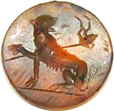 Ancient Roman Carnelian Gem Intaglio of Bacchanalian Panther c. 2nd century A.D.