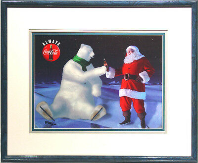 Good Friends Coke Ad Coca Cola Polar Bear Santa Claus Cel Art Christmas Framed