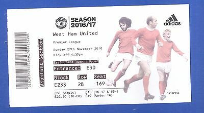 Manchester United v West Ham United FC Premier League 2016 MATCH TICKET