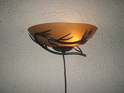 Beautiful Tuscan Bronze Metal  Branch W. Glass Slip Shade  Wall Sconce #1 of 10