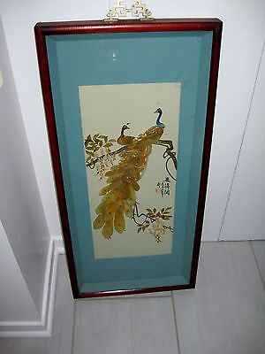 Vintage Signed Asian Carved Shell Art Shadow Box ~ Peacock