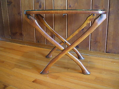 Vintage One Of A Kind Axe Handle Legs Table Wood Iron Signed Dated 1947
