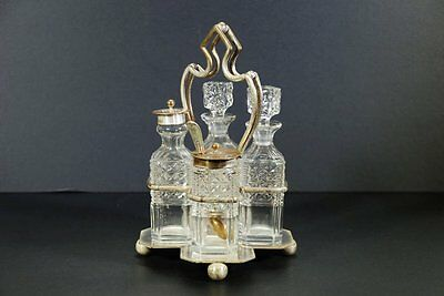 Antique English Silverplate Condiment Set With Stand & 4 Crystal Vessels & Spoon