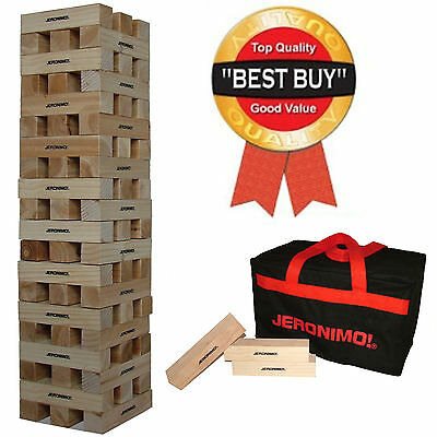 Large Jeronimo Wooden Tower in Canvas Bag 60 Brick Garden Giant Jenga Style Game