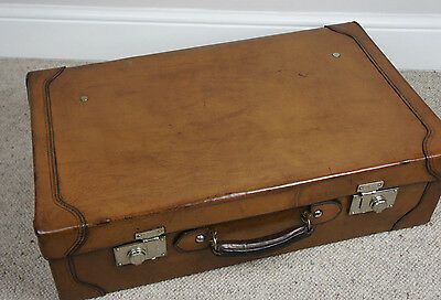 Quality Large Antique Hand Sewn Suitcase With Tray No Initials