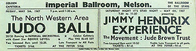 JIMI HENDRIX EXPERIENCE Concert Flyer - Imperial Ballroom, Nelson 1967