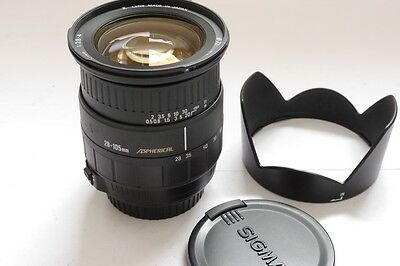 Sigma 28-105mm f2.8-4 Aspherical Zoom lens with hood & caps in Canon EOS mount