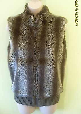 Girls Brown Padded Zipped Front Faux Fur Waistcoat Size 11-12 Years By Gloss