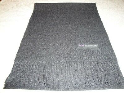 New 100% Cashmere Scarf Soft 72X12 Solid Charcoal Gray Made in Scotland Wool Men
