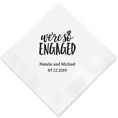 Wedding Cocktail Napkins.100 We Re So Engaged Personalized Wedding Cocktail Napkins
