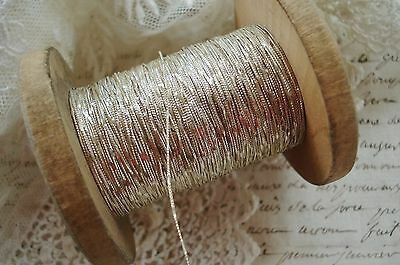 4y VTG FRENCH SILVER STAMPED METAL METALLIC EMBROIDERY THREAD ANTQ TRIM RIBBON