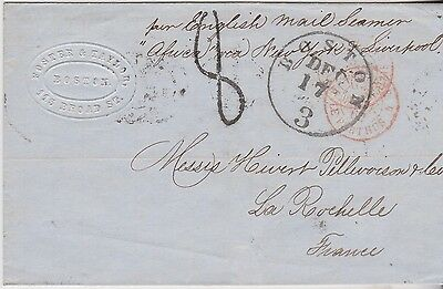 1862 Transatlantic Boston Wrapper To France Per English Mail Steamer Africa