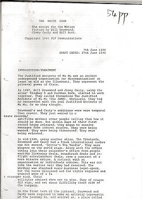 KLF. The White Room. Copy of film script. Unbound, 54 x A4 pages. June 27 1990.