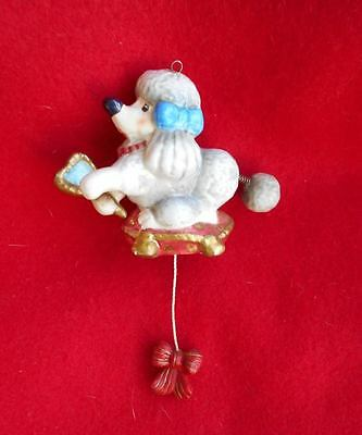 Unusual Vintage Pottery Poodle Christmas Ornament Dog w Spring Tail & Arm moves