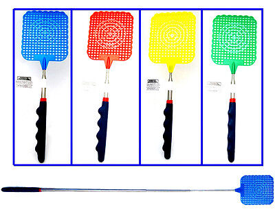 "4pk 28-5/16"" Telescopic Extendable Fly Swatter + Cushion Grip In Assorted Color"