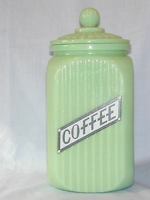 Jadite Green Glass Canister Coffee  retro glass lid Black Letter