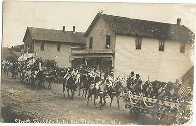Plum City, WI Wisconsin 1910 RPPC Postcard, 4th of July Parade