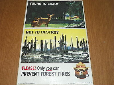 """1964 Smokey the Bear cardboard poster - """"Yours to Enjoy Not To...""""  64-CFFP-4B"""