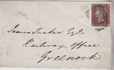 1845 QV GLASGOW COVER WITH 1d PENNY RED IMPERF STAMP TO RAILWAY OFFICE GREENOCK