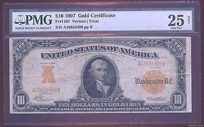 $10 GOLD Certificate series 1907. VF25 PMG Fr#1167 Vernon/Treat large size note