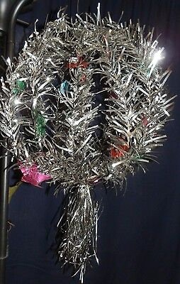 """RARE Antique 21"""" CHRISTMAS Ball TINSEL Collapses for Storage SILVER ALUMINUM"""