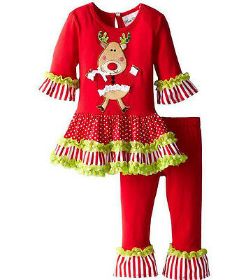 US Stock Toddler Kids Baby Girls Tops Dress+Leggings Xmas Outfit Clothes Set