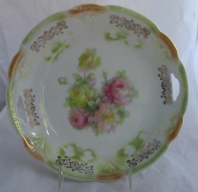 Antique Bavaria Porcelain Open Handled Cake Serving Plate Pink&Yellow Roses