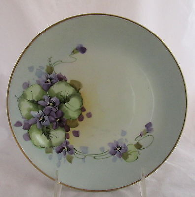 Antique Porcelain Hutschenreuther Hand Painted Artist Signed Pansies Plate