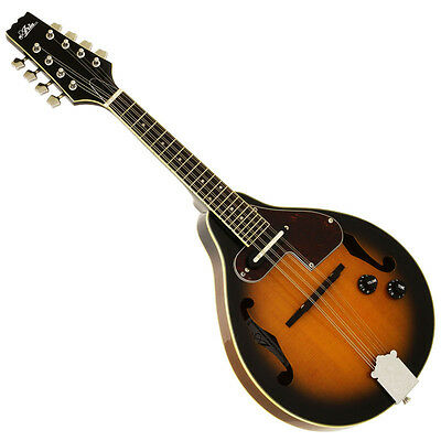 "NEW ARIA AM-20E BROWN SUNBURST ""A"" STYLE ACOUSTIC ELECTRIC MANDOLIN w/ GIG BAG"