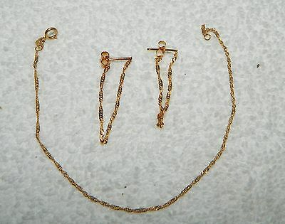 Marked OR 14k Yellow Gold Twisted Chain Bracelet & Matching Dangling Earrings
