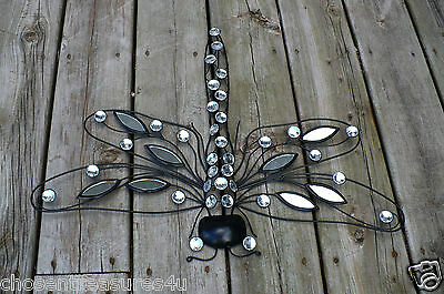 METAL DRAGONFLY 23 in. x 18 in. WALL PLAQUE METAL WITH MIRRORS ART GARDEN HOME