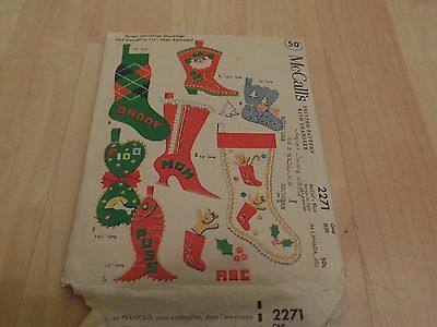 Vintage 1958 McCall's Rare Christmas Stocking Pattern 2271 w/Transfers Partial