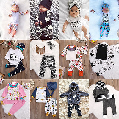 3pcs Toddler Newborn Baby Kids Boys Girls T-shirt Tops+Pants Outfits Clothes Set