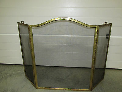 Arched Vintage Brass Finished Fireplace Screen Spark Guard