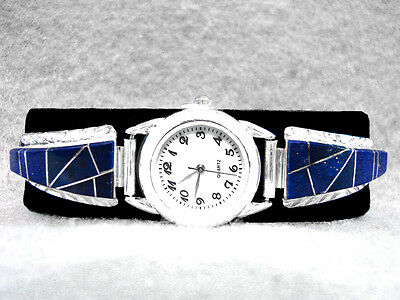 Navajo Watch Lapis Sterling Silver Native American Indian Blue W