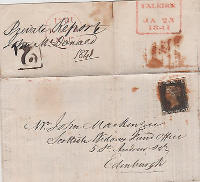 WOW QV COVER 1841 WITH 1d PENNY BLACK STAMP PLATE 8 MALTESE CROSS HI CAT $944+