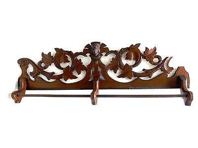 Incredible Ornate Wood Antique Towel Holder Carved Leaves, Head & Double Bar