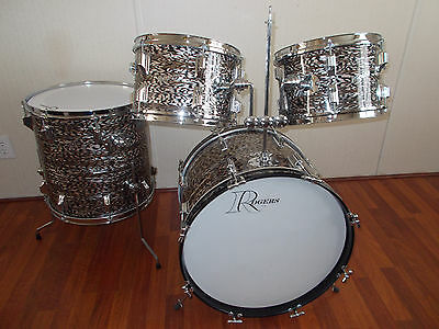 Vintage 1960s Rogers Holiday Black Onyx Pearl Drum Kit