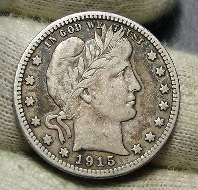 1915D Barber Quarter 25 Cents. Nice Coin,  Free Shipping (4121)