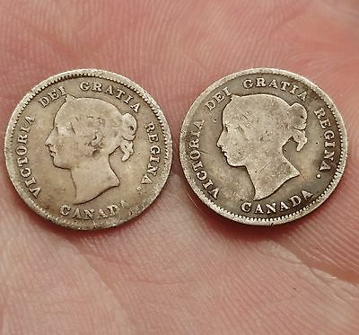 1880-H & 1899 Canada 5 Cents Coins - Nice Early Silver Coins