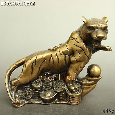 Collectibles Chinese carving brass wealth fine Lucky tiger statue qianlong mark