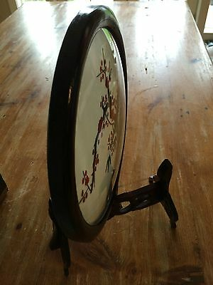 Chinese SUZHOU embroidery table screen DOMED GLASS~Rare