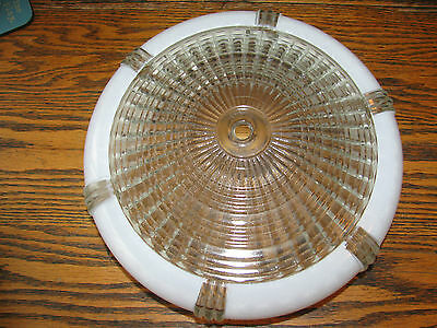 """Antique Vintage Retro Mid Century 10"""" White Frosted/Clear Glass Ceiling Shade"""