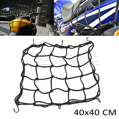 6-Hooks Black Motorcycle Motorbike Bike Cargo Luggage Bungee Cord Net 40x40cm